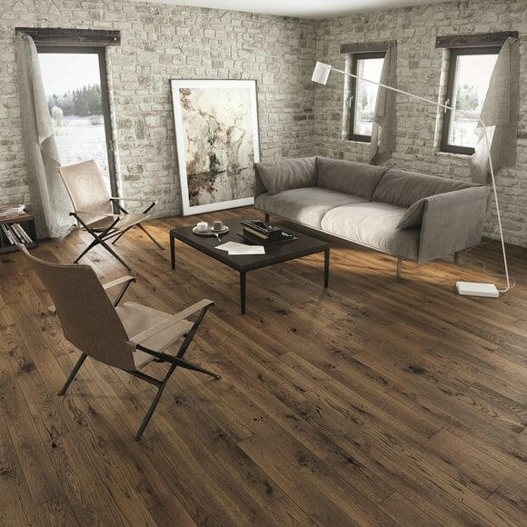 Narrow engineered wood flooring in living room