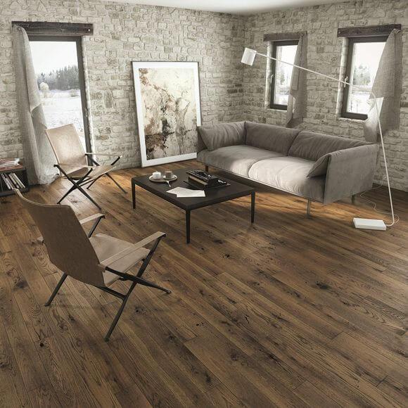 Narrow engineered wood flooring in living room